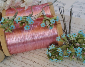 1 Vintage European Tiny Bouquet Blue Forget-Me-Not Ginny Victorian Bisque Doll Millinery Flower Cloche Wedding Doll Bear Trim Dollhouse