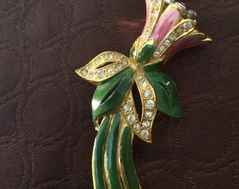 Vintage jewelry 1940s enameled flower tremblor