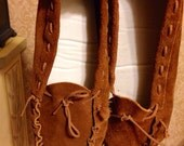 Vintage 1970's Moccasin Shoes / Brown Suede Moccasin Shoes Ladies Size 11W USA / Ex Large