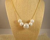 Ceramic White Bead Necklace on Adjustable Golden Chain- Iridescent Crackle Ceramic Beads