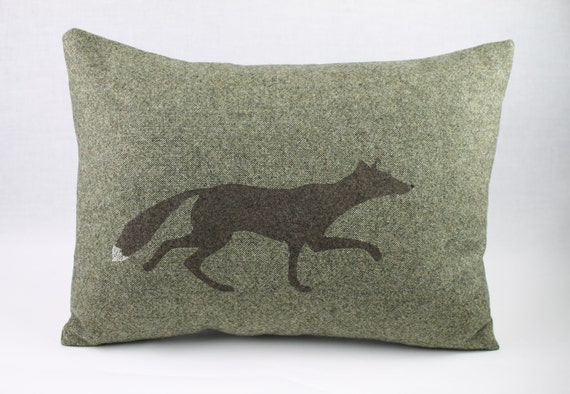 Hand printed Fox pillow moss green woollen decorative pillow.