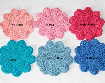 Cotton Doilies - Doily - Pastel Colored Doilies - Set of 3 Doilies - Handmade Crocheted Doilies  - Six Colors to Choose From