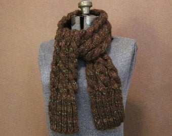 SALE Chunky Brown Cable Knit Scarf