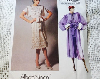 Vogue American Designer Pattern, Albert Nippon Dress Pattern, Vogue 1692, Size 8, Uncut, 1980s