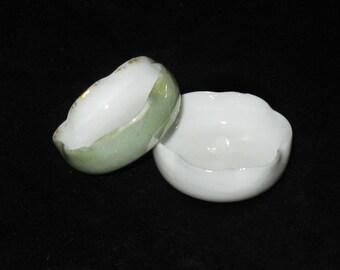 Antique Porcelain Salt Dishes Set of 2