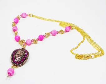Hot Pink Crystal Necklace, Pendant Necklace, Handmade Chain Necklace, Dragon Skin Bead Necklace, Pink Necklace