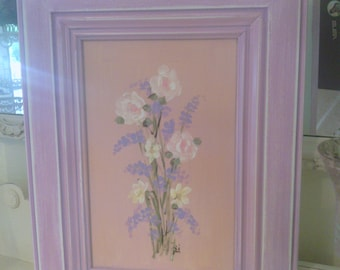 Cottage Wildflower Garden Picture with Distressed Lilac Frame