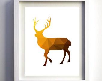 Brown Mustard Yellow and Gold Geometric Deer Silhouette Art Print, Geometric Animal Print, Contemporary Art, Gold Deer,  Abstract Deer Art