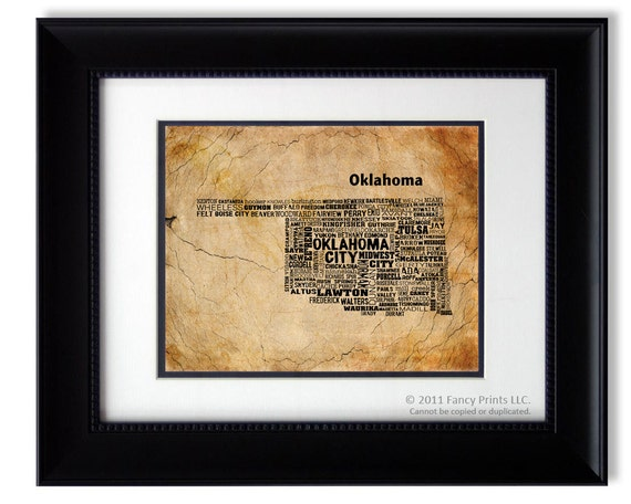 Cities of OKLAHOMA State, Oklahoma Map Cities & Towns - Unique Vintage Style Typography Poster, Christmas gift for him