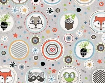 Adornit Woodland Critters Collection Critter Polka in Grey
