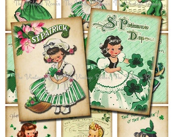 INSTANT DOWNLOAD St. Patrick's Day Printable, Digital Collage Sheet, Vintage Graphics, Altered Art atc, aceo