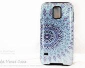 Blue Zen Mandala Galaxy S5 Case - TOUGH dual layer S 5 Case with Buddhist Style Art - Cloud Mandala