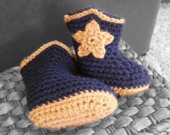 Handmade baby cowboy boots, crochet infant cowboy booties, newborn shoes