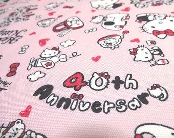 Japanese Fabric Sanrio Hello Kitty 40 Anniversary Pink FQ
