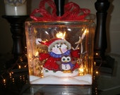 Glass Block with a snowman and and owl.  Lights electric or battery.