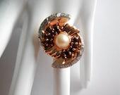 Huge Art Deco Era 14Kt Rose Gold Diamond Garnet & Pearl Cocktail Ring