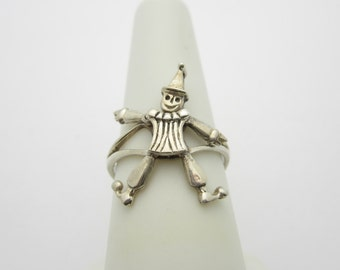 Bring On The Clowns! Awesome MOVEABLE  STERLING Silver CLOWN Ring. Size 7