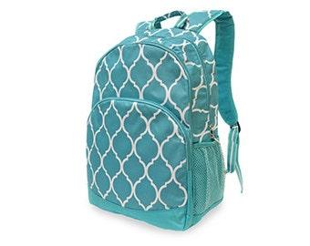 Monogrammed Turquoise Quatrefoil Backpack