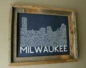 Milwaukee Skyline Word Art Print (Dark Blue)