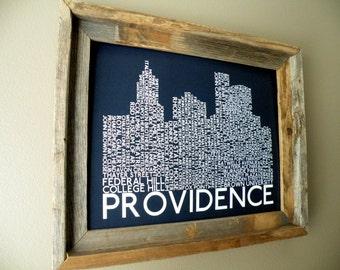 Providence Skyline Word Art Print (Dark Blue)
