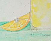 Sunny summer yellow art watercolor painting original and unique lemon still life painting rhinestone.  Kitchen or office decor.