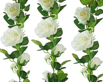 Ivory Silk Rose Garland - Wedding Decoration