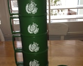 6 Vintage Tupperware Christmas Green Peace Dove Mugs with 6 Coasters/Lids