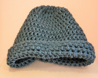 beanie hat crochet blueish gray,Soft yarn, warm, FREE SHIPPING beautiful crocheted beanie