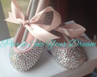 Crystal Rhinestone Ballet Flats Shoes - Wedding- Pageant -Christening - Baptism - Flower Girl - Junior Bride - Toddler and Youth Size Shoe