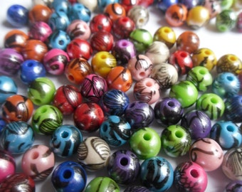 50 Printed 10mm Round Acrylic Beads