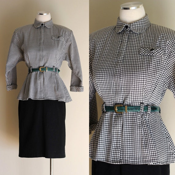 SALE: Vintage 80s / 90s All That Jazz Black and White Gingham Peplum Dress - One Piece Retro Check Suit with Pencil Skirt - Size Medium