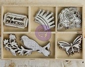 Laser Cut Wooden Embellishments - Prima - Wood Icons - Princess - Die Cuts in a Box - Birds - Crowns - Butterflies - 20 pieces