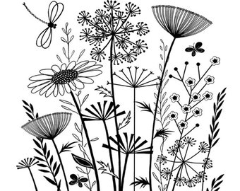 Summer Garden - Unmounted Red Rubber Stamp - Crafty Individuals - Made in UK - Grasses Flowers - 3.5 x 3.25 in - Collage - Vintage Inspired