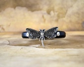 Dragonfly Spacer Regaliz Black Greek Leather Bracelet