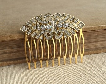 Gold hair comb, Gold Art Deco Comb, Gold hair accessories, Art Deco headpiece,  head piece rhinestone PALE GOLD EYE