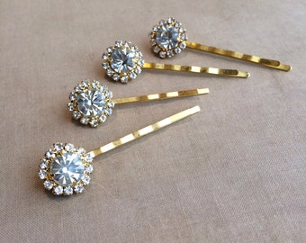 Gold hair pins, Gold Bridal Crystal Hairpins 4 pc, hair clip Art Deco hair accessories rhinestone hairclip hair bobby pin GOLD ROUND