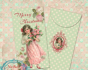 DIY Christmas Girl with Roses Cash/Gift Certificate Envelope-INSTANT Digital Downloads