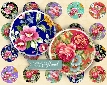 charm of flowers - circles image - digital collage sheet - 1 x 1 inch - Printable Download