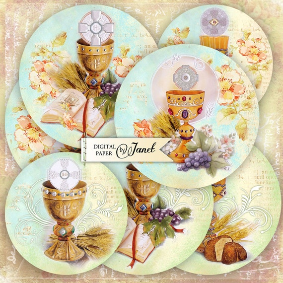 First Communion - 2,5 inch circles - set of 12 - digital collage sheet - pocket mirrors, tags, scrapbooking, cupcake toppers