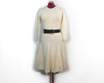 1980s Ivory Adrienne Vittadini Wool and Angora Sweater Dress with Long Sleeves, Flowing Skirt - Medium