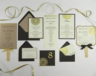 Gold Doily Embossed Wedding Invitation and Stationery Package