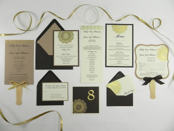 Gold Embossed Wedding Invitations: Gold Doily Embossed Wedding Invitation And Stationery Package
