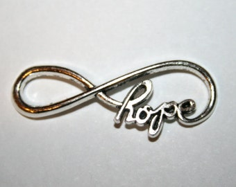 "4 Silver ""Hope"" Within The Infinity Sign Charms/Pendants/Connectors"