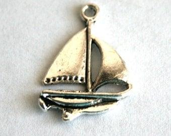 5 Tibetan Silver Sail Boat Charms/Pendants