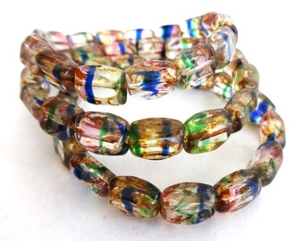 15 Beautiful Picasso Clear Czech Multi Color Table Cut Rectangle Beads