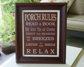 Porch Rules Framed Sign