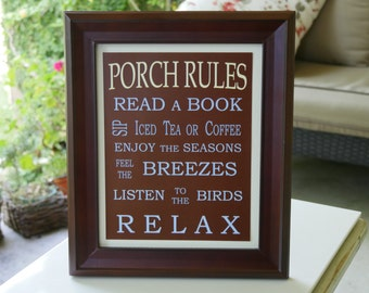 Porch Rules Framed Sign