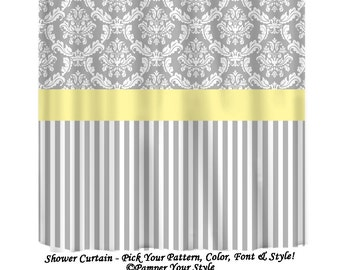 Damask And Stripe   Grey And Yellow Shower Curtain   Any Color Band    Custom Shower