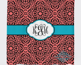 Custom Designed Monogrammed- Turquoise and Coral Shower Curtain, Boys and Girls Bathroom, Create and Design Your Own Shower Curtain
