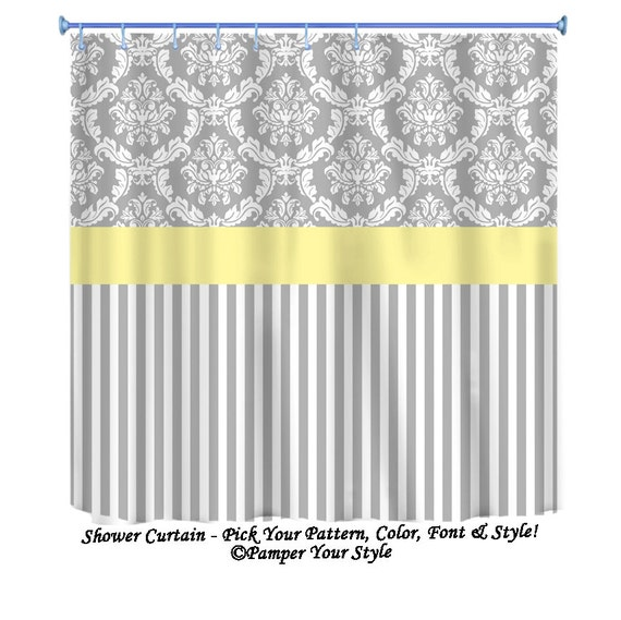 Damask And Stripe Grey And Yellow Shower Curtain Any Color